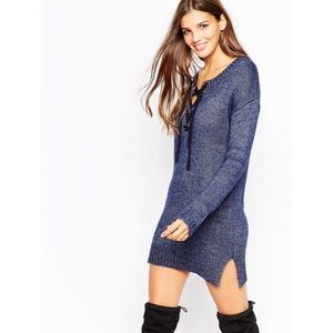 Asos Copper Knit Tunic Dress With Lace Up Detail